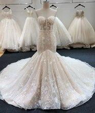 SL-6229 New Arrival Crystal Bling Bling Mermaid Wedding Dresses 2020 Full Beading
