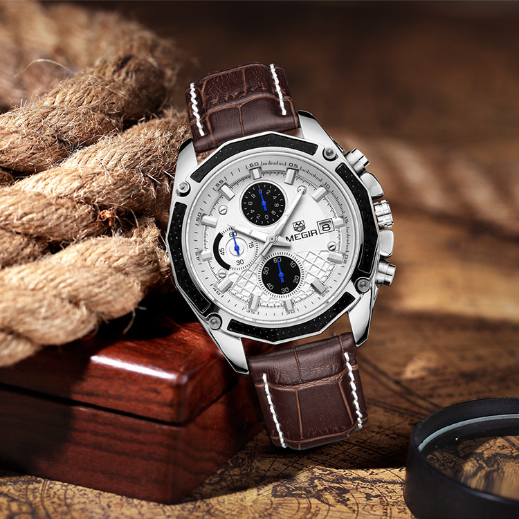 <font><b>Megir</b></font> mei gainer MEN'S Watch Leather Watch Strap Multi-functional Sports Waterproof Night Light Brand Quartz Watch <font><b>2015</b></font> image