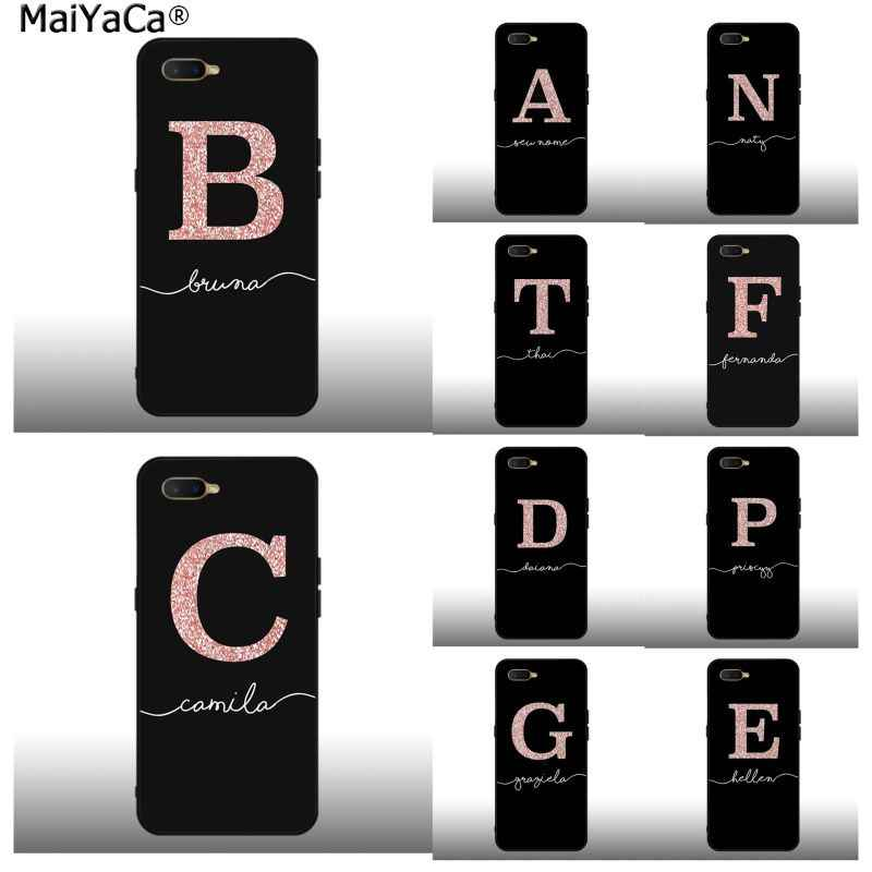 Maiyaca Abc Name Letter Monogram Pink Glitter Gold Beautiful Phone Case For Oppo F7 F5 F9 K1 A77 F3 Reno F11 11pro Realme 2 Phone Case Covers Aliexpress