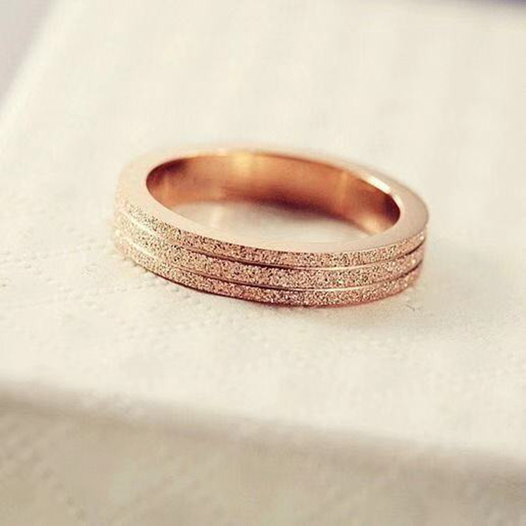 KNOCK  Top Quality Rose Gold Color Frosted Ring for Woman Girl Gift  316 L Stainless Steel Ring Never Fade  Jewelry 4