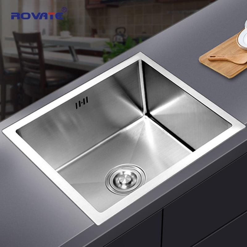 ROVATE Stainless Steel Bar Kitchen Sink Single Bowl Undermount, Drop-in Handmade Single Bowl Deep Kitchen Sink Kit