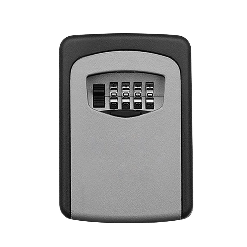 Wall Mounted Key Safe Box Aluminum Alloy Key Storage Box 4-Digit Combination Password Box For Indoor Outdoor Use