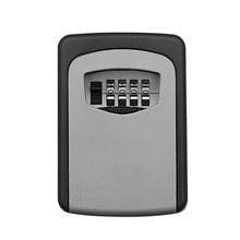 Wall Mounted Key Safe Box Aluminum Alloy Key Storage Box 4 Digit Combination Password Box for Indoor Outdoor Use