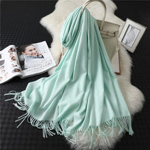 2019 luxury brand cashmere women scarf winter warm shawls and wraps cotton bandana pashmina soft long female foulard(China)