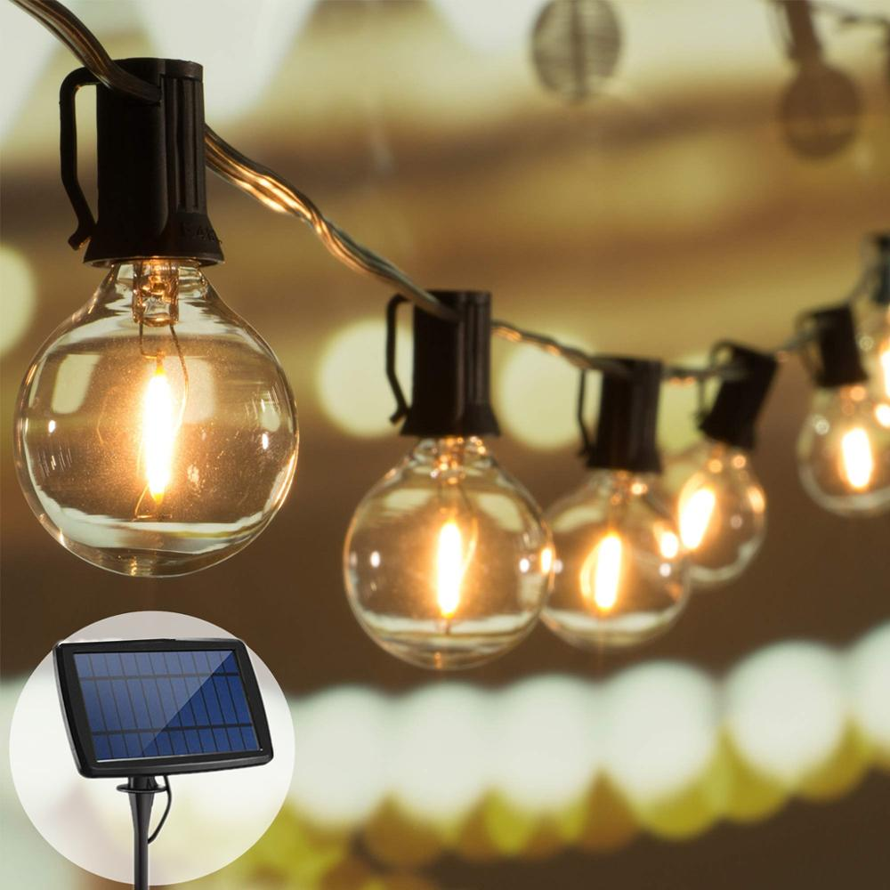 Street Garland Outdoor Lights Garland Solar String Lights LED Fairy Light Glass G40 Bulb Solar Garland USB Rechargeable