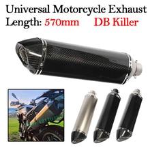 цена на 51mm inlet 570MM Universal Motorcycle Exhaust Muffler Pipe 250cc 350cc 600cc Escape DB Killer Laser Marking For CBR1000 TRK 502