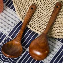 1pc large long handle natural wooden cooking scoop catering