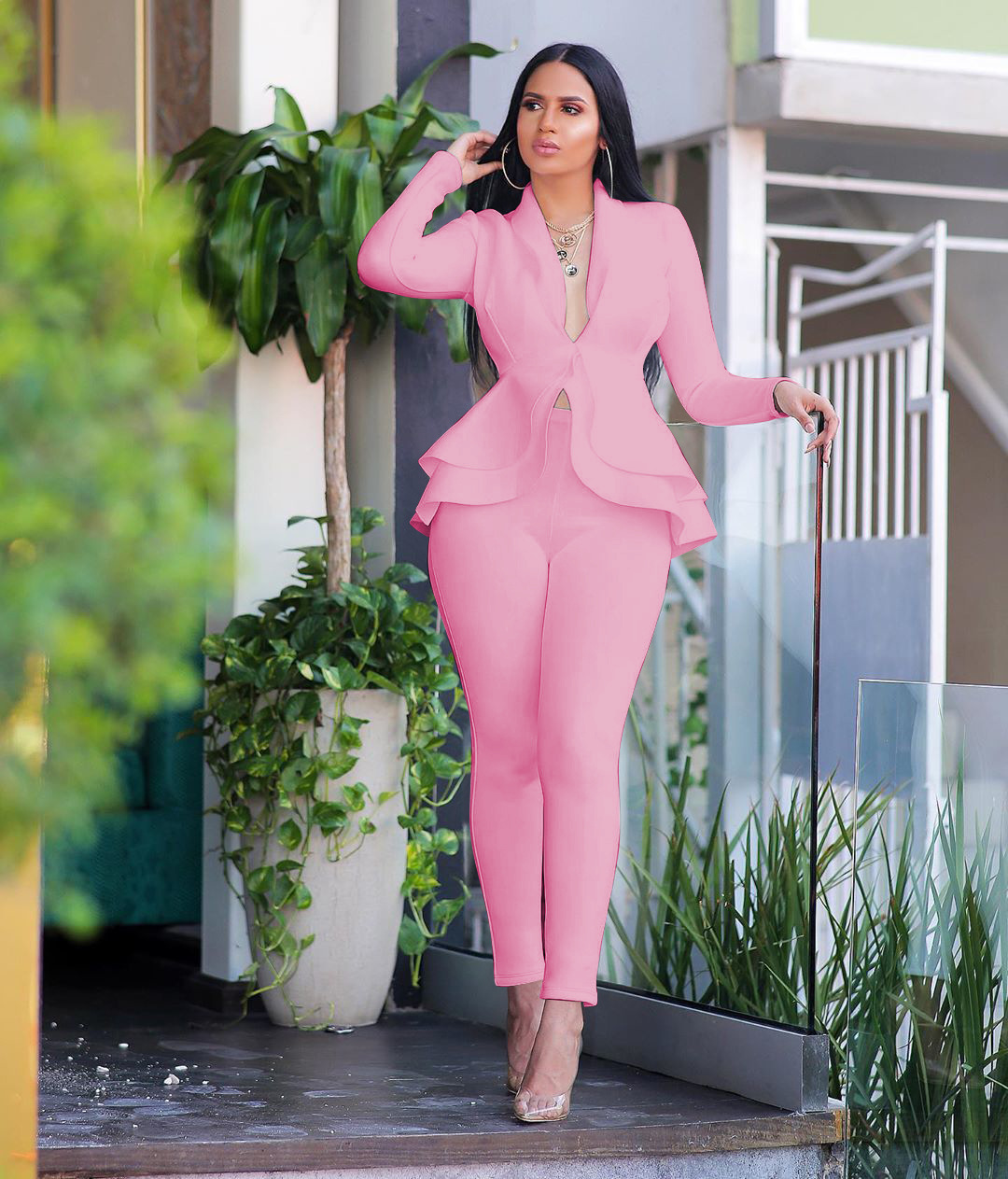 H6091b6b5dc464a25a6c852506b70d29bA - Winter 2 Piece Set Blazer Women Work Wear Full Sleeve Ruffles Pencil Pants Suit Two Piece Set Office Lady Outfits baclk uniform