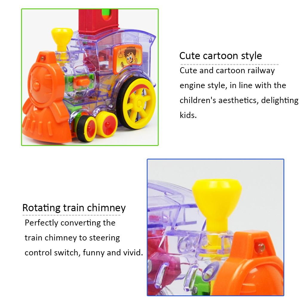 Domino Building Block Game Set Cartoon Rally Train Engine Shaped Toy Set Domino Rally Block Toy Ideal Birthday Christmas Gift
