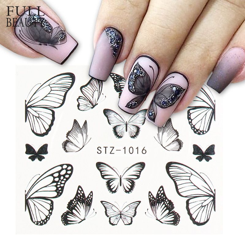 1pc Black Butterfly Nail Decals and Stickers Flower Blue Colorful Water Tattoo for Manicures Nail Art Slider Decor CHSTZ982-1017