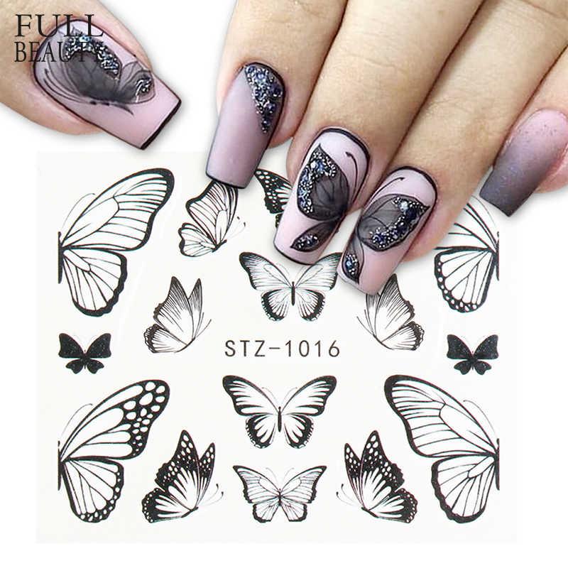 1pc Schwarz Schmetterling Nagel Abziehbilder und Aufkleber Blume Blau Bunte Wasser Tattoo für Maniküre Nail art Slider Decor CHSTZ982-1017