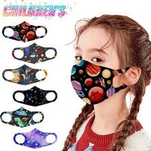 Маска для лица детская многоразовая с мультяшным принтом, дышащая