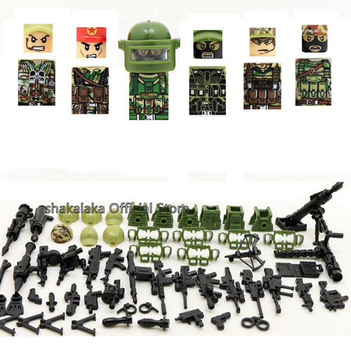 6pcs Ghillie Suit MILITARY Camouflage Army Special Forces Soldier War SWAT DIY Building Blocks Figure Educational Toys Gift Boys | Model Building