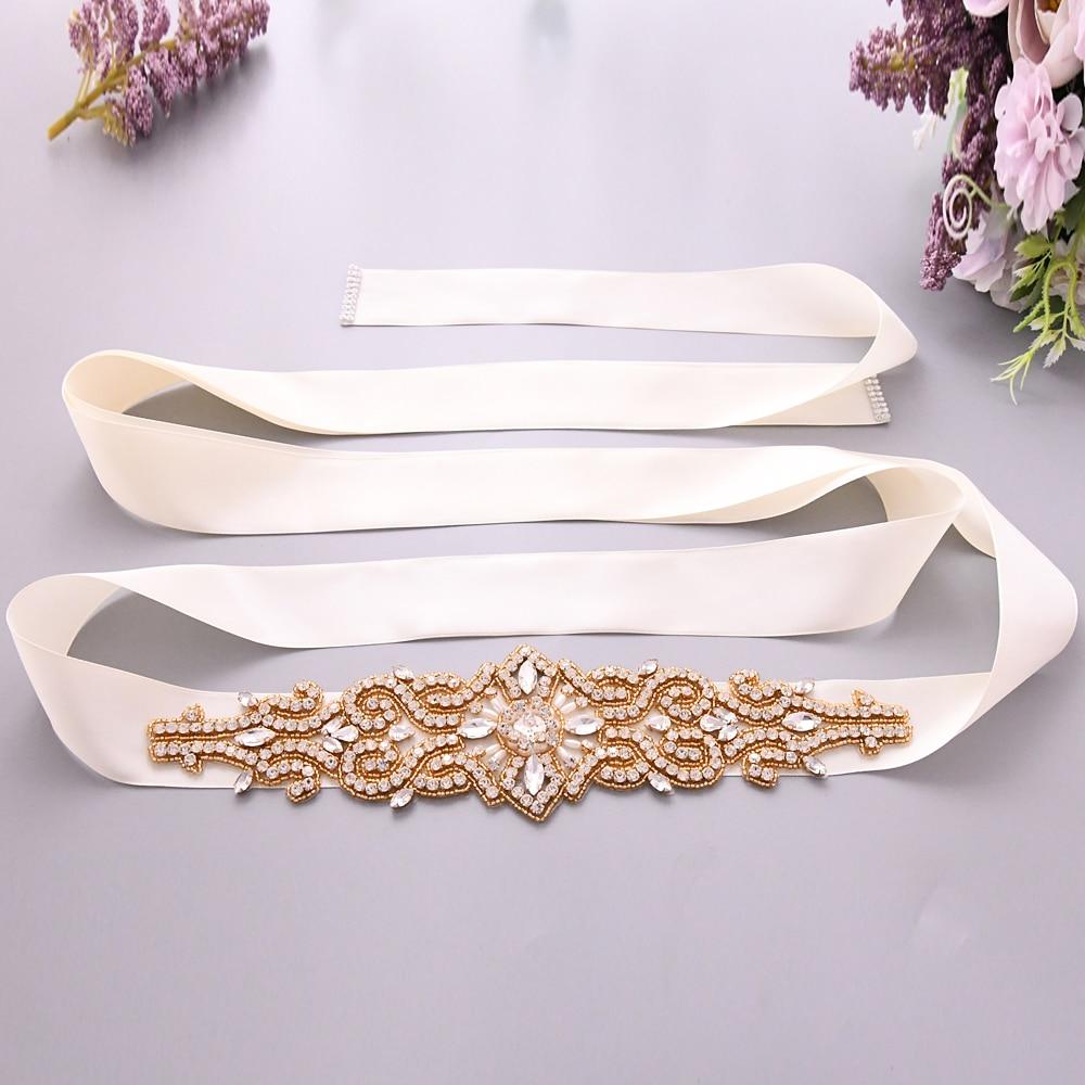 TRiXY S26-G Golden Rhinestones Belt Bridal Belt Diamond Wedding Dress Belt Crystal Wedding Sash For Wedding Dress Accessories