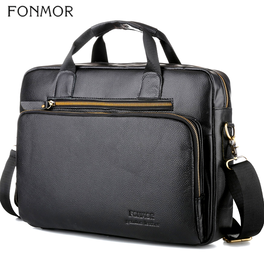 Fonmor Men Genuine Leather 15.6''Laptop Handbags Briefcase Crossbody Shoulder Bags Male Cowhide Fashion Totes Bag High Quality