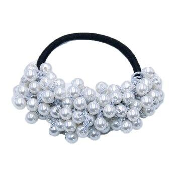 14 Colors Woman Elegant Pearl Hair Ties Beads Girls Scrunchies Rubber Bands Ponytail Holders Hair Accessories Elastic Hair Band 39