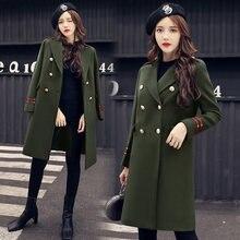 Новинка 2020, модное двубортное зимнее пальто YASUGUOJI, женское утепленное пальто, зеленое шерстяное длинное пальто в стиле милитари