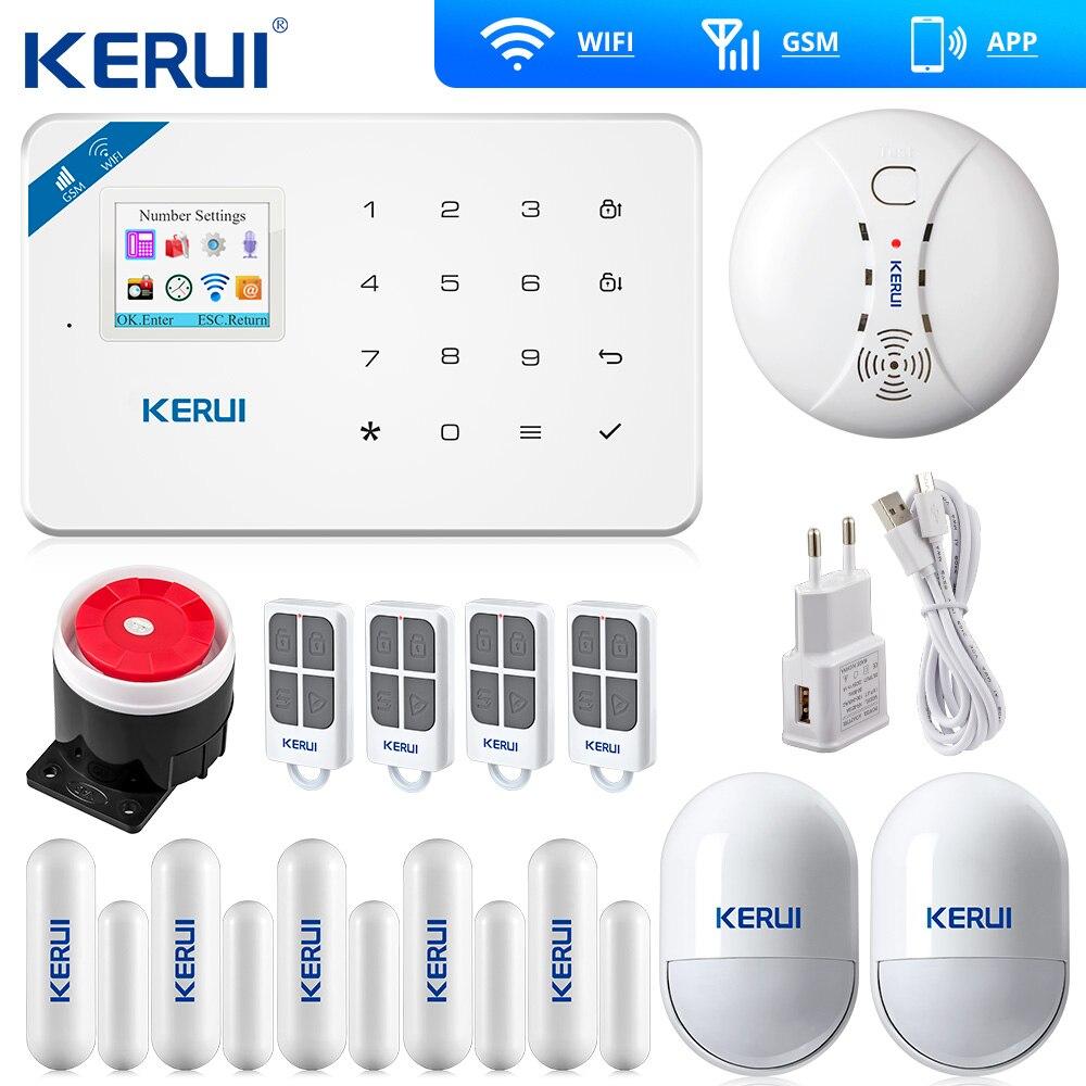 Беспроводная охранная система KERUI W18, Wi Fi, GSM, домашняя сигнализация, Android, IOS, приложение, Беспроводной детектор дыма, WIFI умная розетка
