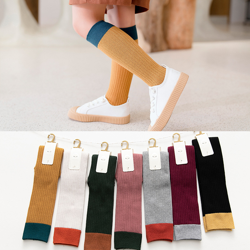 Cotton Baby Girls Long Socks Kids Socks Baby Boys Girls Patchwork Socks Toddler Kids High Knee Sport Socks Leg Warmer 1-8Y