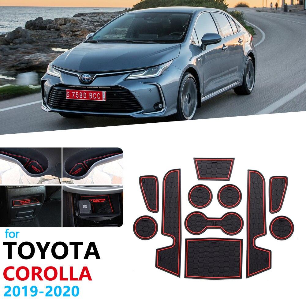 Otomobiller ve Motosikletler'ten Araba Çıkartmaları'de Kaymaz kauçuk kapısı yuvası kupası Mat Toyota Corolla 2019 2020 için E210 kapı oluk Mat çıkartmalar araba Styling coaster kupası yastık title=