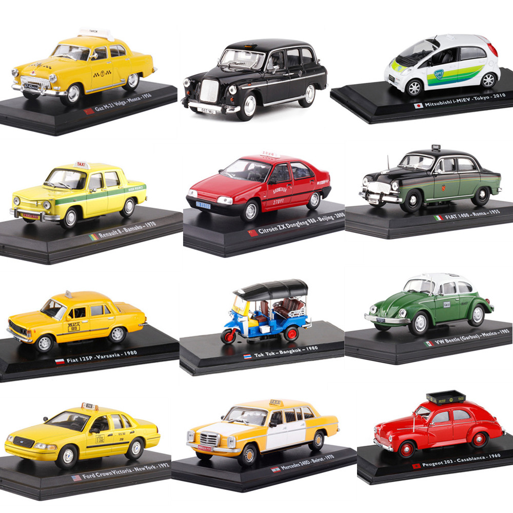 Exquisite Original 1:43 Scale Taxi Alloy Model,16 Country Simulation Die-cast Metal Car Models,gift Collection Ornaments