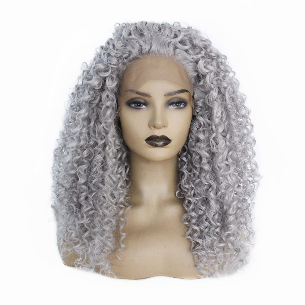 Grey Long Kinky Curly Wigs For Black Women Heat Resistant Fiber Hair Glueless Synthetic Afro Curly Lace Front Wig With Baby Hair