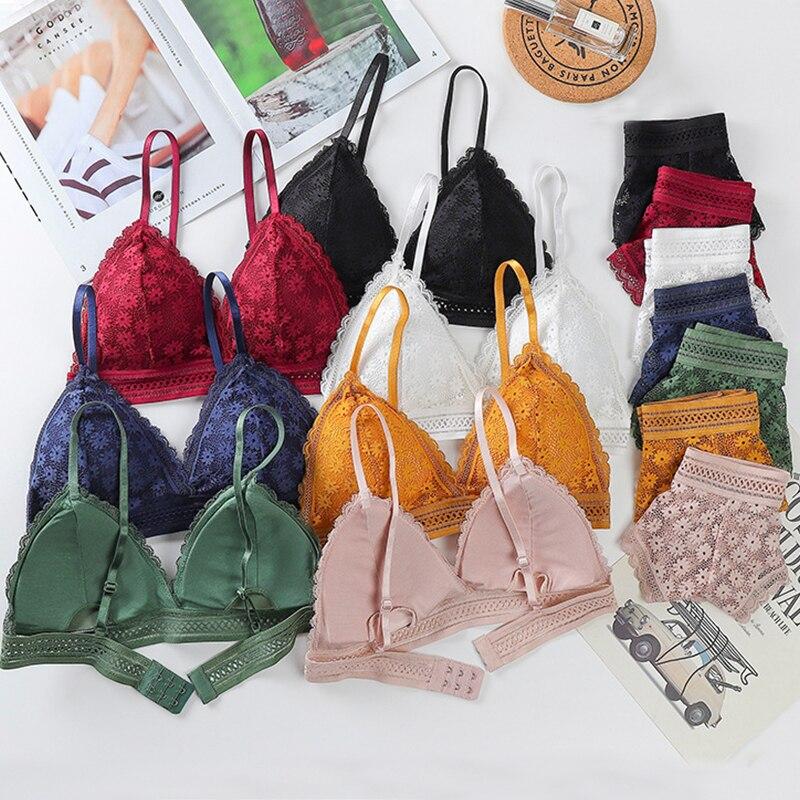 Frauen Bhs Sexy Dessous Bh Slip Set für Frauen Nahtlose Mädchen Unterwäsche Bh mit Padded Spitze Bralette Höschen Dessous # F