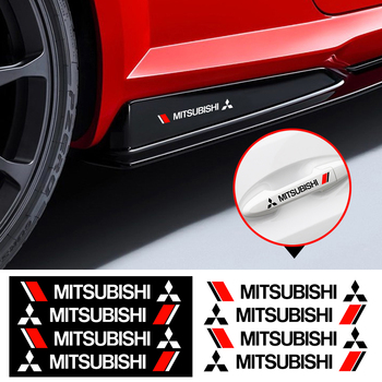 4PCS Car Door Handle Sticker View Mirror Body Decoration Vinyls Decals For Mitsubishis ASX Outlander L200 EVO Lancer EX Pajero 4 pcs set fashion car styling wheel round tire valve caps for mitsubishis asx lancer pajero outlander l200 evo lancer ex pajero