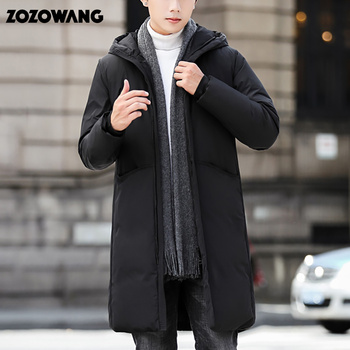 ZOZOWANG Brand Men Clothing 2020 Winter New 90% Down Jacket Fashion Casual Slim Hooded Thick Warm White Duck Down Long Coat Male children s winter warm down jacket suit hooded 2 piece set girls clothing brand 1 3y baby boy fashion white duck down jacket set