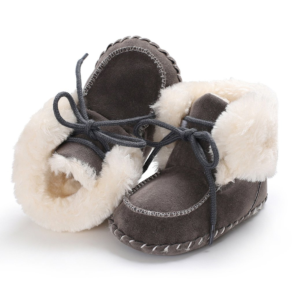 Boys Baby Winter Shoes Suede Snow Boots Outdoor Non Slip Prewalker Cotton-padded