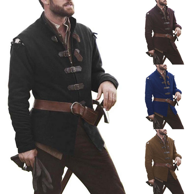 2019 New Medieval Knight  Cosplay Coat Men's Costume Solid Color Collar Leather Buckle Tops Adult Men Long Sleeve Tops