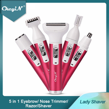 CkeyiN 5 in 1 Women Shaver Painless Hair Removal Epilator Shaving Machine Face Beard Eyebrow Nose Trimmer Body Electric Razor 45