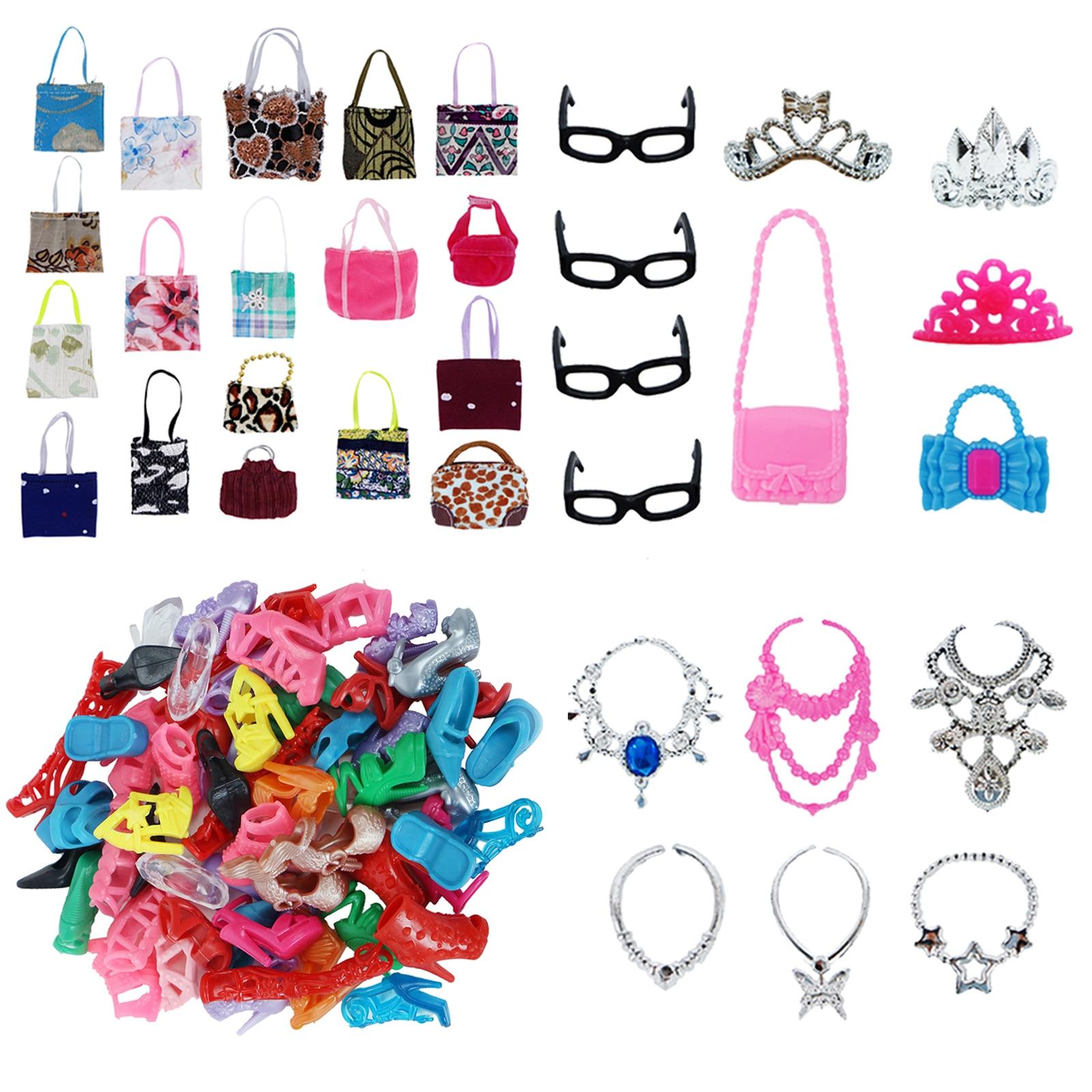 30 Pcs/Lot = Random 10 Shoes + 7 Bags + 6 Necklaces + 3 Crowns + 4 Glasses Princess Clothes For Barbie Doll Accessories Toy Set