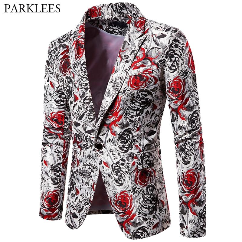 Rose Print Mens Floral Blazer Hombre Casual Slim Fit Men Blazer Jacket Suit Coats Wedding Party DJ Stage Men Costumes For Singer