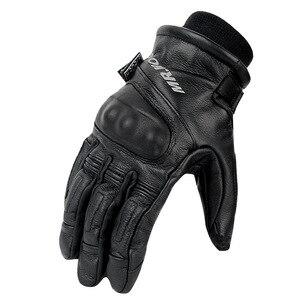 Image 2 - Zimowe ciepłe wodoodporne rękawice moto rcycle męskie rękawice jazda na zewnątrz prawdziwej skóry motocross motocykl moto rbike rękawice guantes moto