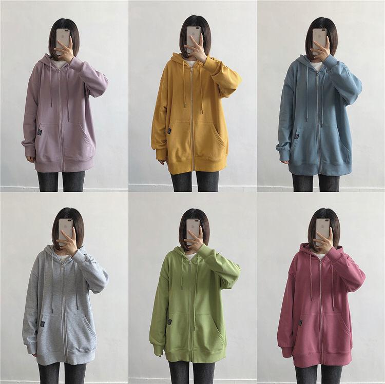 H6093274036434c00a594d8dff0211e99J Harajuku with hat hoodies women zipper kangaroo pocket casual loose solid color sweatshirt female 2020 fashion new female s