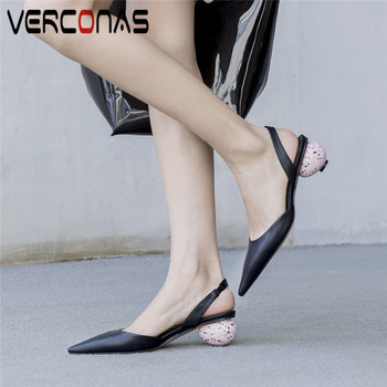 VERCONAS  Women Genuine Leather Sandals Slippers Pointed Toe Thick Heels Mary Jane Shoes Prom Pumps  Summer Elegant Shoes Woman