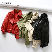Женская короткая куртка Fitaylor, винтажная байкерская куртка с рукавами «летучая мышь», красная куртка на молнии из экокожи, верхняя одежда на весну