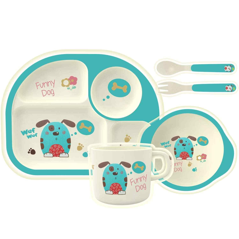 LY0110 5 ชิ้น/เซ็ตเด็กชุดอาหารเย็นไม้ไผ่เด็กอาหารค่ำชุดจาน/ชาม/ถ้วย/ช้อน/ส้อมชุดอาหารสำหรับทารก