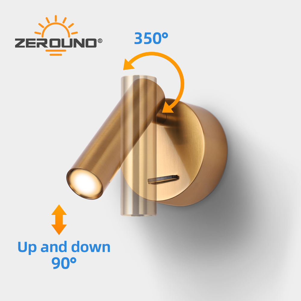 ZEROUNO 2019 Surface Mounted Bedside Reading Lamp warm white LED Wall Light Industrial Rod Lamp Hotel Guest Room Headboard