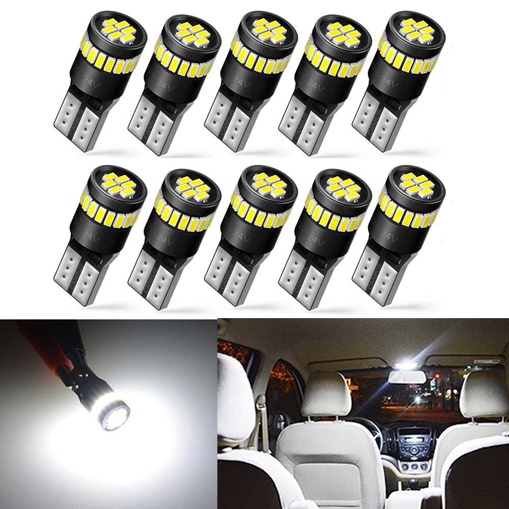 10pcs W5W T10 <font><b>LED</b></font> Canbus Bulbs <font><b>Interior</b></font> Light For <font><b>BMW</b></font> E90 E46 F30 X5 E70 E53 <font><b>E60</b></font> E92 F11 F20 E34 E61 E65 Clearance Parking Light image