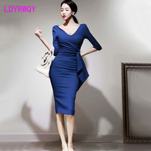 2019 autumn and winter new Korean fashion temperament was thin sexy bag hip bottom dress