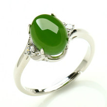 925 silver inlaid natural wada jasper ring spinach Green jade Ring custom retractable coil Mouth belt certificate(China)