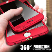 360 Degree Full Cover Phone Case For iPhone X Xs Max Xr 7 8 Plus With Tempered Glass Case Hard PC Shell 6 6S Plus X 5 5S SE Capa(China)