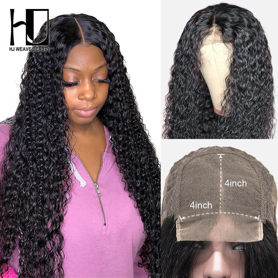 Perucas encaracoladas do fechamento do laço para as mulheres 4x4 pré arrancadas com o cabelo do bebê peruca brasileira do cabelo humano encaracolado 180 densidade 30 Polegada peruca
