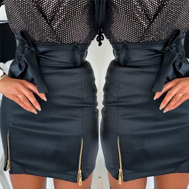 Sexy Women Black PU Leather Pencil Bodycon Skirt Clubwear Double Zipper High Waist Mini Short Skirt Belt Black White Khaki Skirt 4