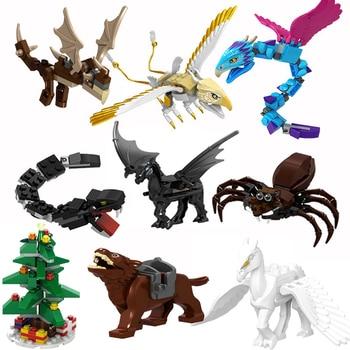 Harri animales Newt's Case of Magical Thunderbird Aragog Occamy Thestrals Basilisk Modelo figura bloques Diy ladrillo juguete para niños