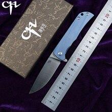 CH3001 الأصلي تصميم زعنفة سكين للفرد D2 شفرة الكرات TC4 التيتانيوم مقبض التخييم الفاكهة جيب في الهواء الطلق EDC أداة