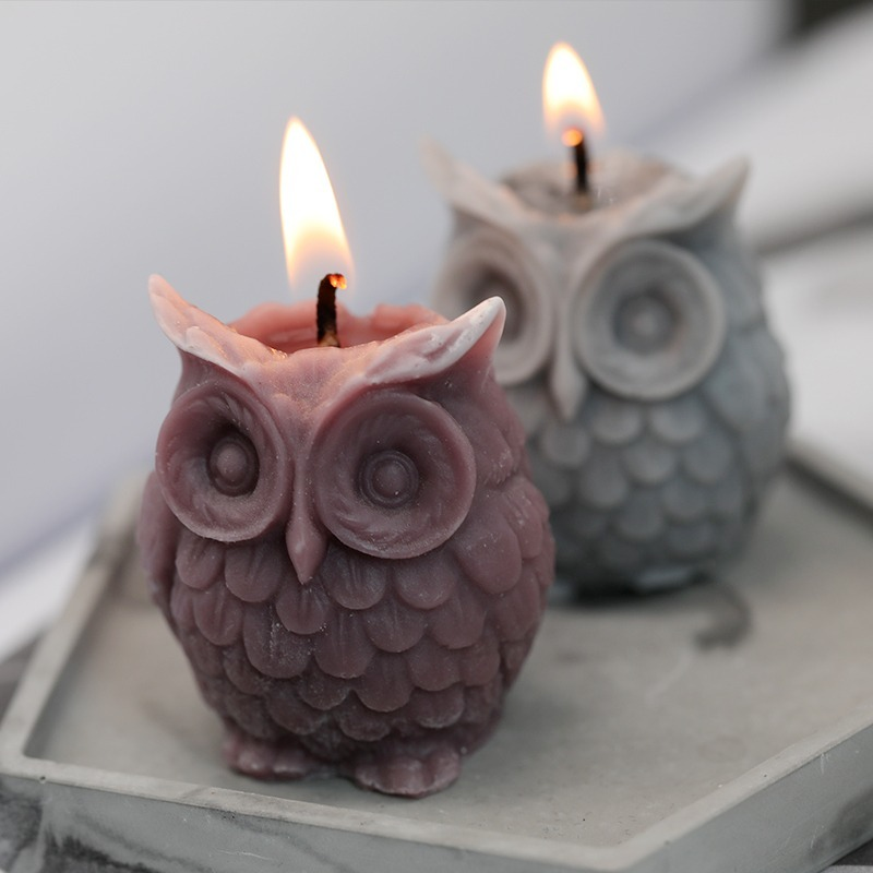 3D Owl Silicone Candle Mold DIY Handmade Resin Mold for DIY Handmade Candle Molds for Candle Making Craft Plaster Wax Mould