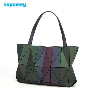 ¡Novedad de 2019! bolso Bao para mujer, bolsas geométricas, lentejuelas, espejo, Saser, bandoleras plegables, bolsa luminosa, bolsa Bao holograma